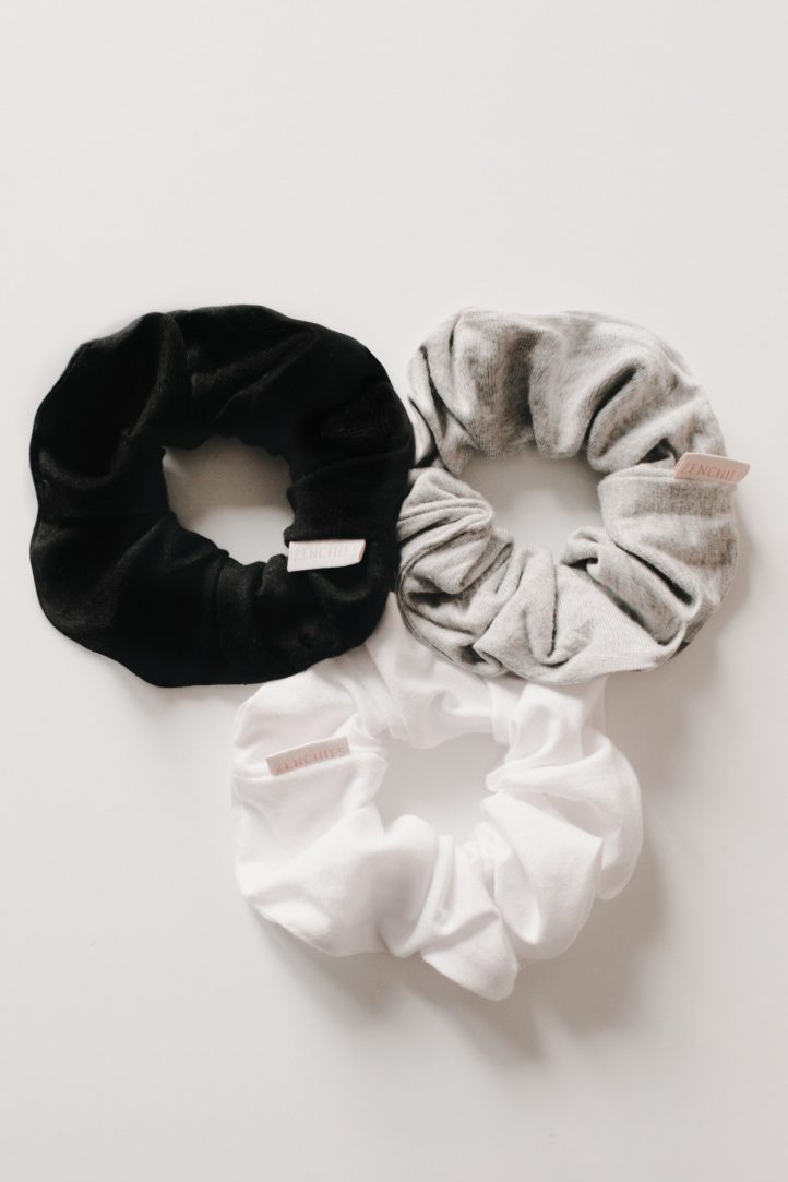 black, white, and grey scrunchies
