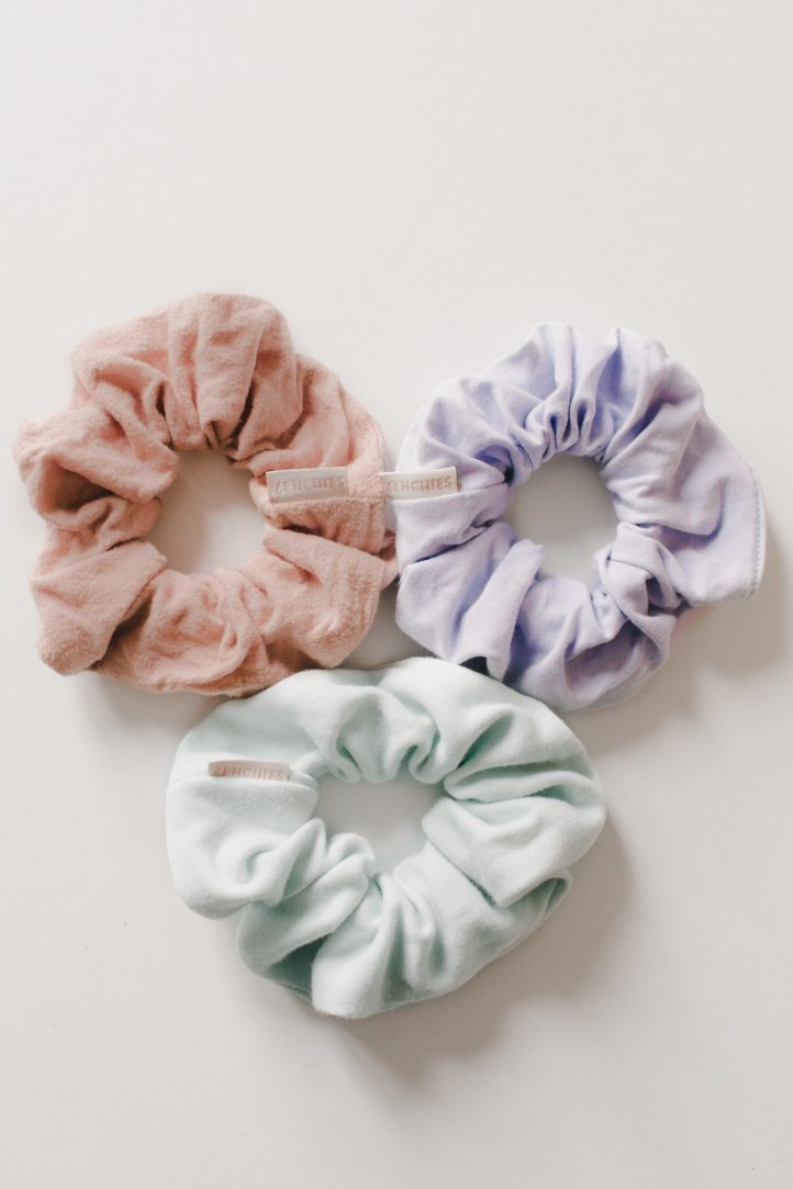 pastel colored scrunchies