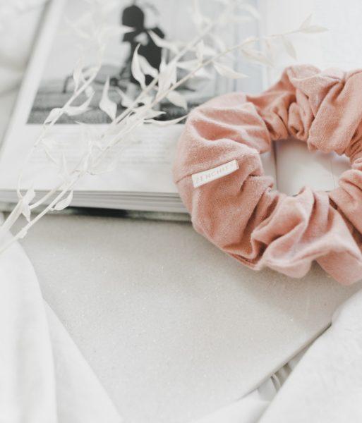 blush pink scrunchie
