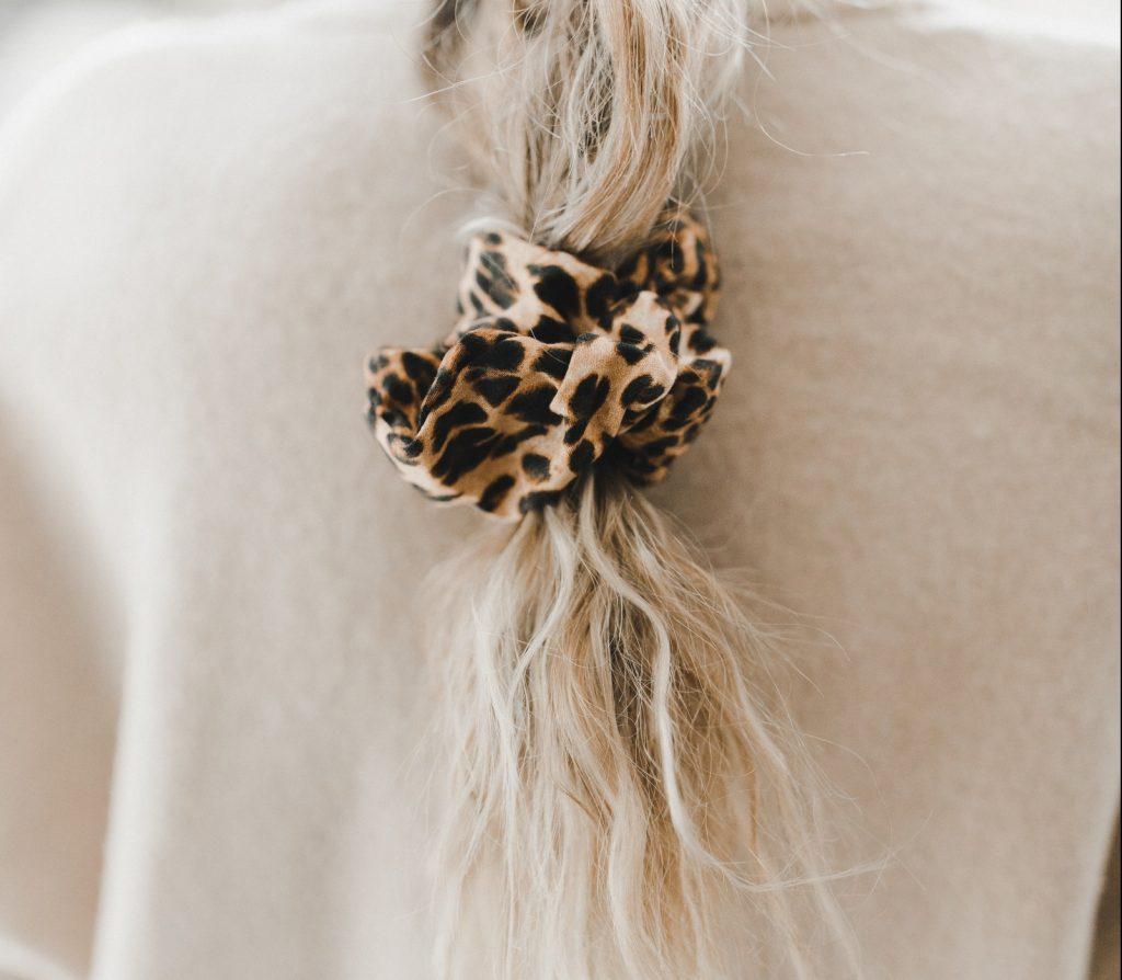 braid with leopard scrunchie