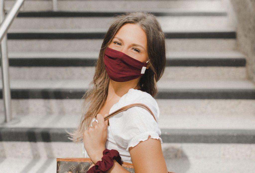 stylish cute burgundy face mask