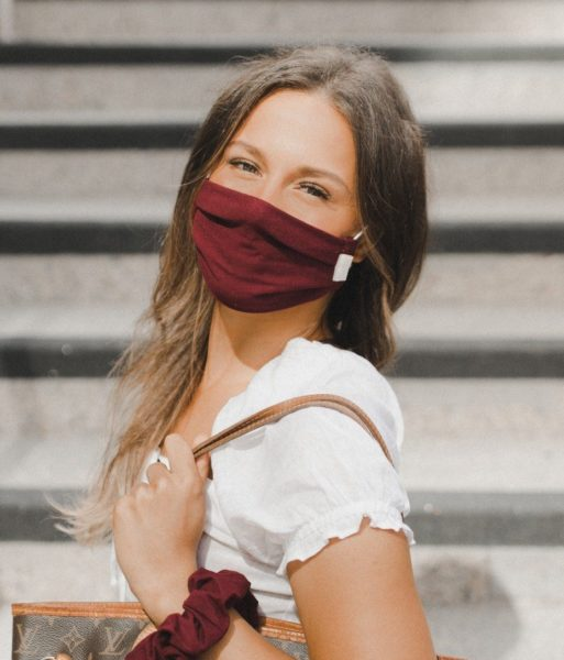 stylish cute burgundy face mask