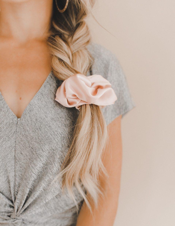 braid with pink silk scrunchie