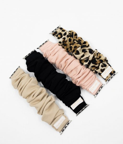 nude, black, pink, and leopard scrunchie apple watch bands