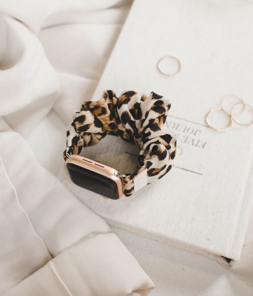 leopard scrunchie apple watch band